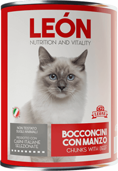 LEÓN pet food gatto bocconcini manzo